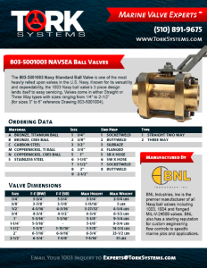 BNL Industries 803-5001003 Navy Ball Valve