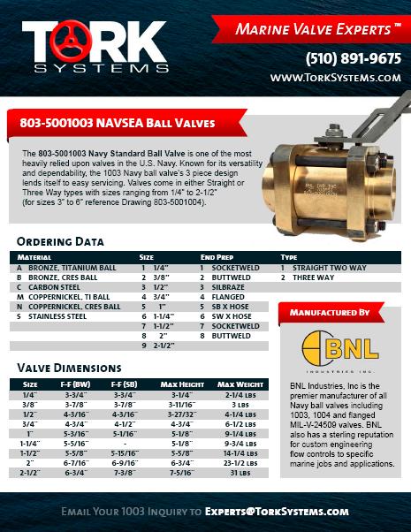 BNL Industries 803-5001003 Navy Ball Valve