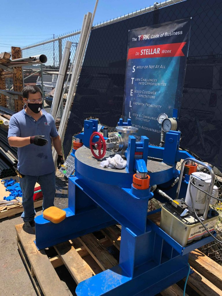Tork's Warehouse Manager hydro tests a stainless steel globe valve